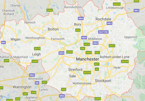 map of Manchester showing area covered